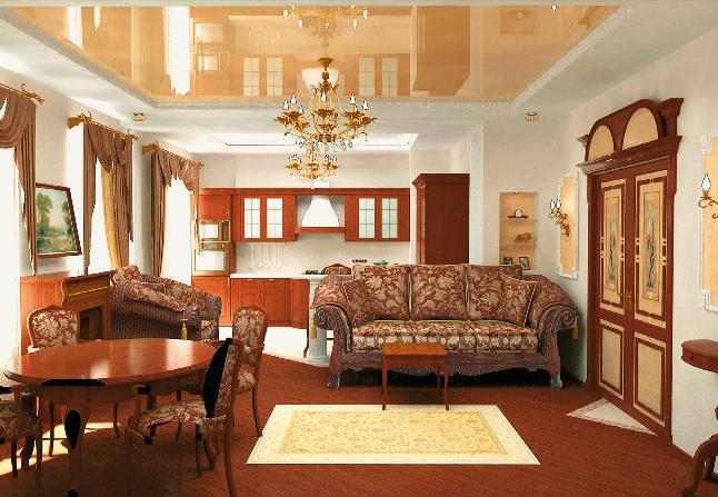 Материал натяжного потолка водонепроницаем, и, в случае затопления красота интерьера не будет испорчена