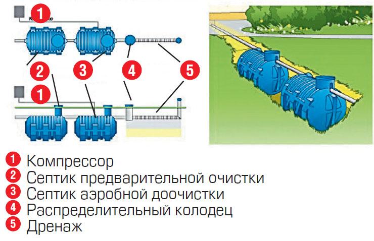 Доочистка в септике аэробной доочистки (Схема: ЭКОЛАЙН)