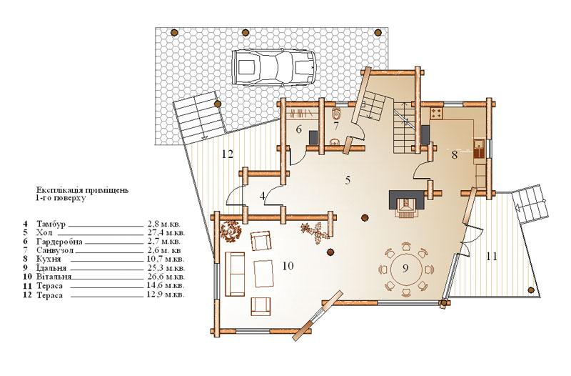 Экспликация помещений 1-го этажа