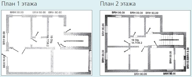 План 2-х этажей дома