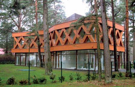 Массивные элементы, выделенные более ярким цветом, визуально приближают здание. (Вилла X в Паланге ( Литва), компания ARCHES, фото М. Ежерскис)