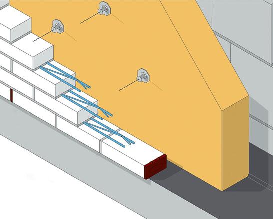 Пример расположения вентиляционных коробочек: каждые 3 кирпича