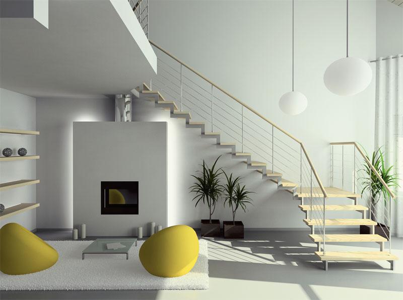 Под компактной одномаршевой поворотной лестницей можно устроить и простой шкаф-купе, и эффектную зону отдыха с камином