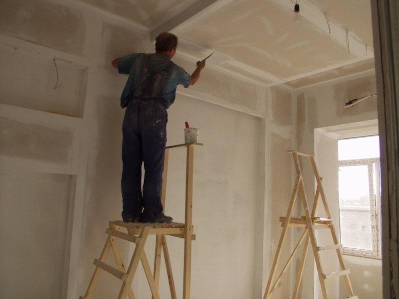 Шпаклевка стыков гипсокартонового потолка