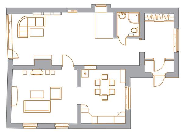 План с расстановкой мебели. План 1 этажа
