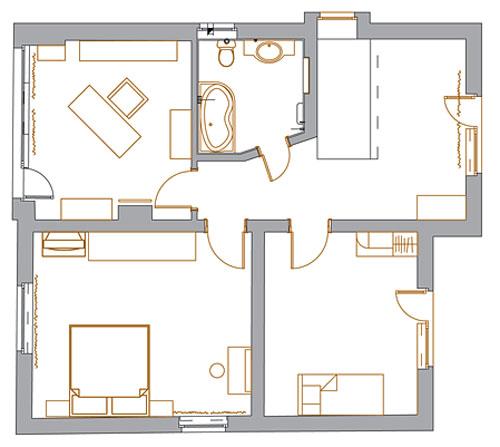 План с расстановкой мебели. План 2 этажа