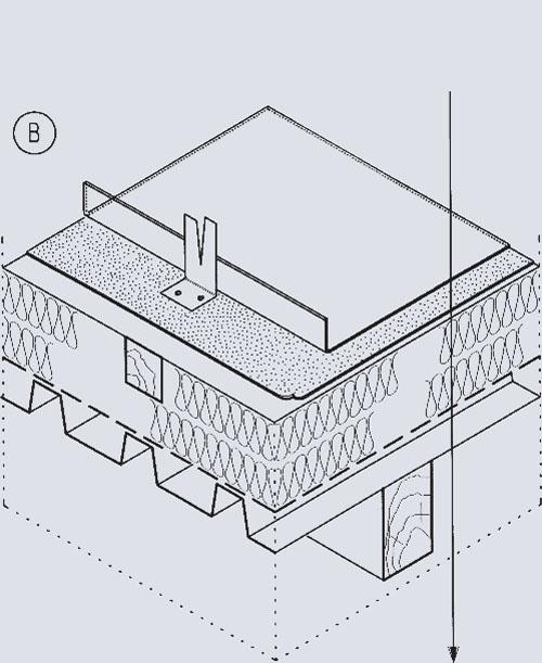 """Кровельный """"пирог"""" невентилируемой крыши (В). Медный лист; Гидроизоляционный слой; Теплоизоляция; Паронепроницаемый слой; Гофрированные металлические листы"""