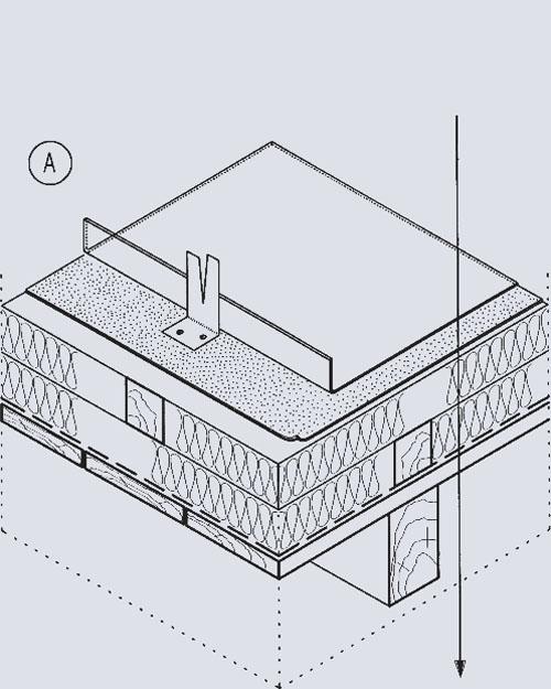 """Кровельный """"пирог"""" невентилируемой крыши (А). Медный лист; Гидроизоляционный слой; Теплоизоляция; Паронепроницаемый слой; Сплошная обрешетка"""