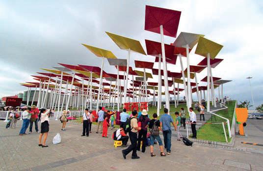 Национальный павильон Мексики, ставший привлекательным общественным пространством для всех посетителей выставки