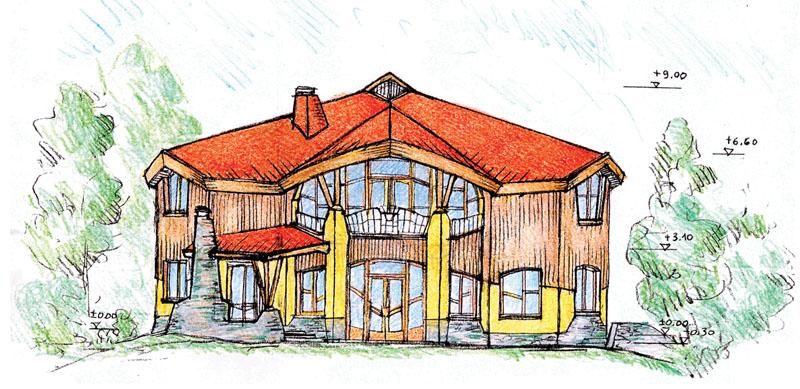 Эскиз дома (вид спереди)