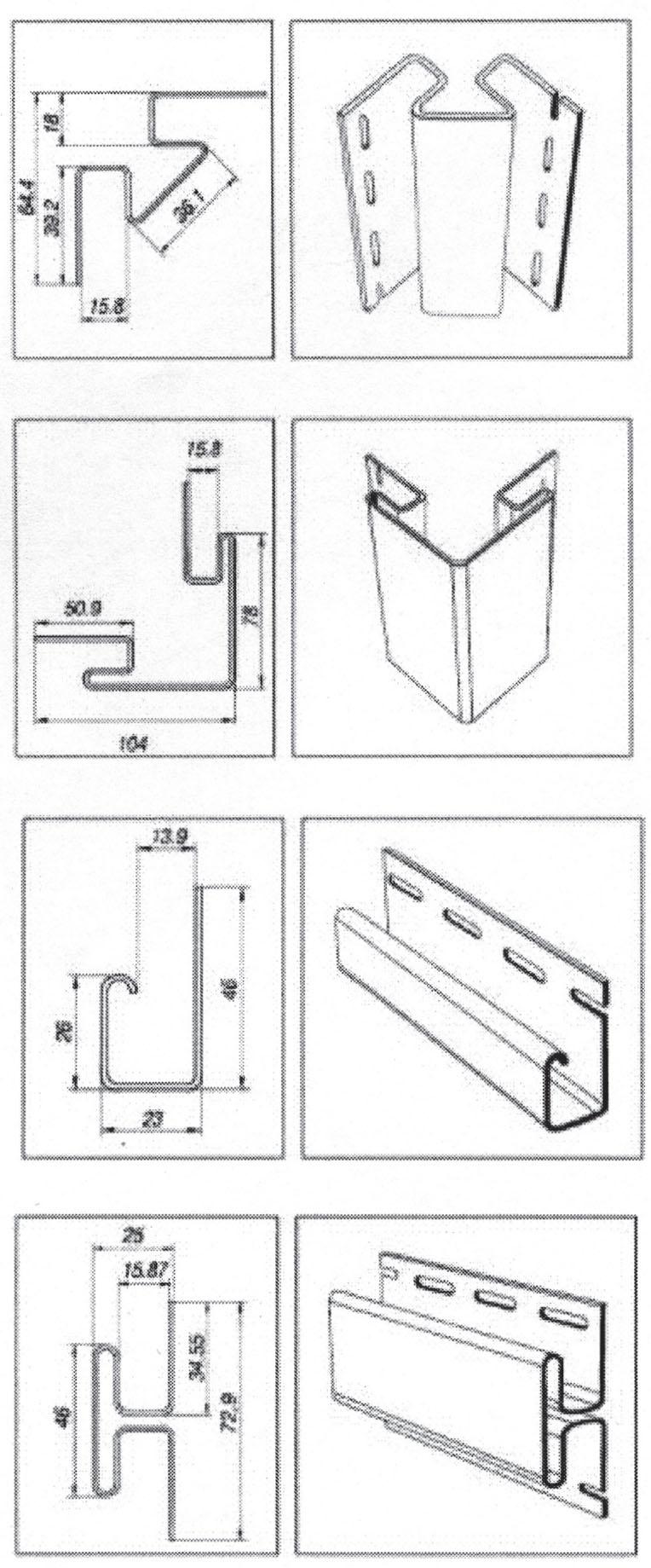 Комплектующие цокольного сайдинга: 1 - Внутренний угол (длина 3,05 м); 2 - Наружный угол (длина 3,05 м); J-профиль (длина 3,6 м); Н-профиль (длина 3,6 м)
