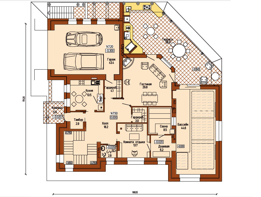 План дома: 1-й этаж
