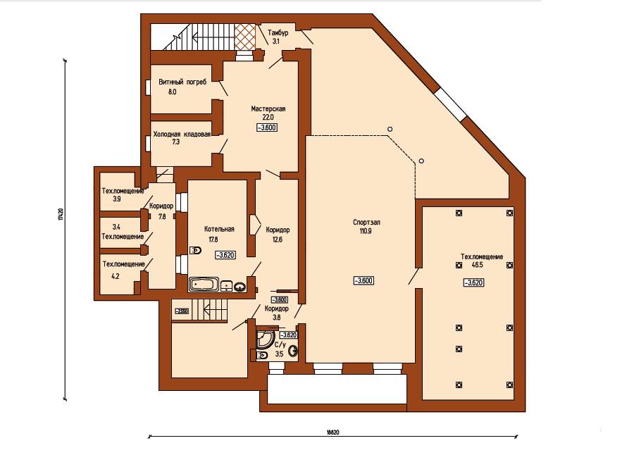 План дома: цокольный этаж