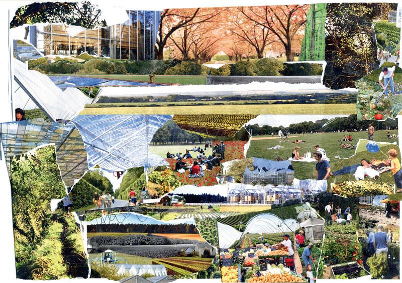 В большинстве проектов Будущий Париж предстает пространством высоко интегрированным, лишенным деструктивной социальной и культурной фрагментации. (Коллаж из проекта Ж. Нувеля)