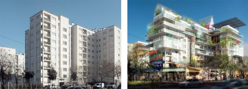 Проект реконструкции панельных высоток по формуле Ж. Нувеля: «строить на том, что уже построено, украшая и объединяя город в единую гармоничную живую среду».