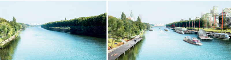 Исследования «Большого Парижа» продемонстрировали неисчерпаемый потенциал р. Сены как общественного пространства и транспортной сети. Визуализация из проекта Groupe Descartes