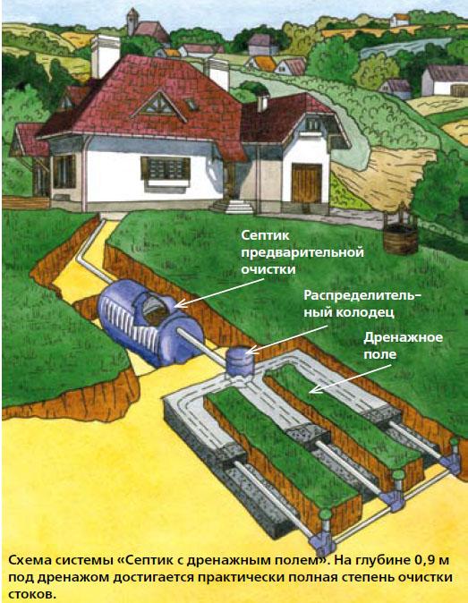 Схема системы «Септик с дренажным полем». На глубине 0,9 м под дренажом достигается практически полная степень очистки стоков (Рисунок: Анастасия Саржан)