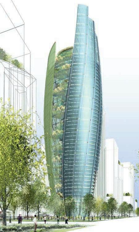 «Башня будущего» У. МакДоноха представляет собой небоскреб, функционирующий как дерево: производя кислород, очищая воду, вырабатывая энергию и внешне изменяясь в зависимости от времени года (рендер) (green Architecture for the Future) (Фото: William McDonough & Partners)