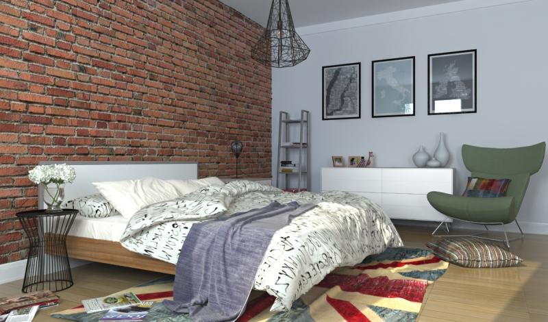 Спальня в скандинавском стиле: отделка и интерьер, светлая и темная мебель, с кирпичной стеной (фото)